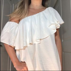 DO+BE White Ruffle Off Shoulder Blouse Top NWT S